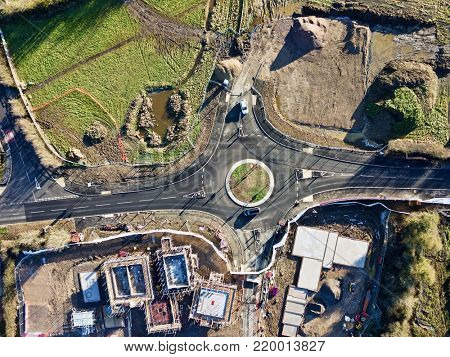 Roundabout road construction building site aerial photo