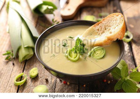 bowl of leek soup