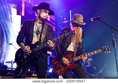 NEW YORK-NOV 29: Musicians Dave Navarro (L) and Billy Gibbons perform at America Salutes You & Wall Street Rocks Presents Guitar Legends For Heroes at Terminal 5 on November 29, 2017 in New York City.