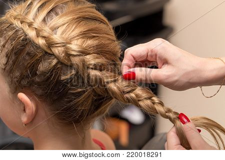 braided pigtails in the beauty salon . Photos in the studio