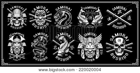 Set of vintage samurai warrior emblems, badges, logo, shirt design. Text is on the separate layer. (VERSION ON DARK BACKGROUND)