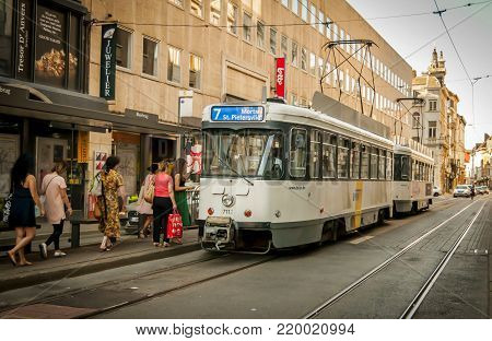 ANTWERP, BELGIUM. July 18, 2017. City electric tram in downtown Antwerp.