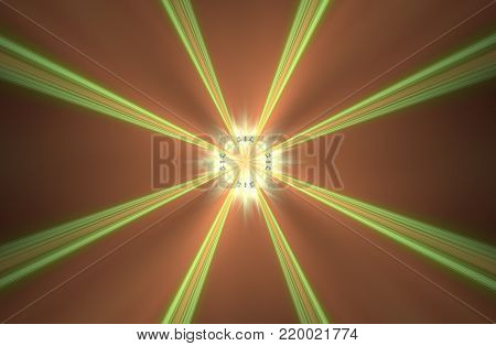 abstract background image space portal with long green rays diverging from the center with a glowing middle and orange background.