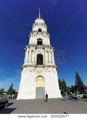 Rybinsk, Russia. - June 3.2016. The Belltower of the Savior-Transfiguration Cathedral in Rybinsk. The belltower is the second tallest after the bell tower of the Peter and Paul Cathedral.