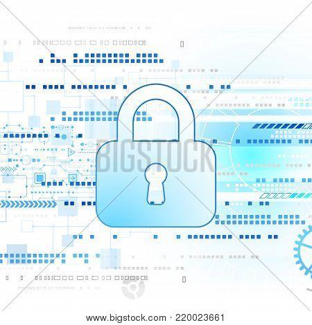 Protection program code. Technology security, encode and decrypt, techno scheme, vector illustration