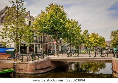 THE HAGUE, NETHERLANDS. July 19, 2017. A view of a beautiful river channel in the Hague.