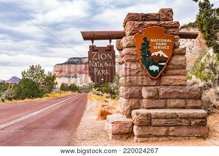 SPRINGDALE, UTAH - OCTOBER 19, 2017: Entrance sign to Zion National Park in Springdale, Utah