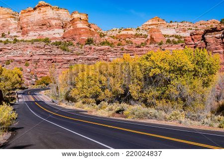 Scenic Route 12 through the stunning and unique landscape of Grand Staircase-Escalante National Monument in Utah