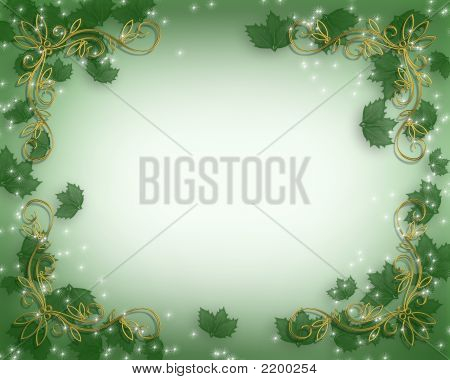 Christmas Holly Background With Sparkles
