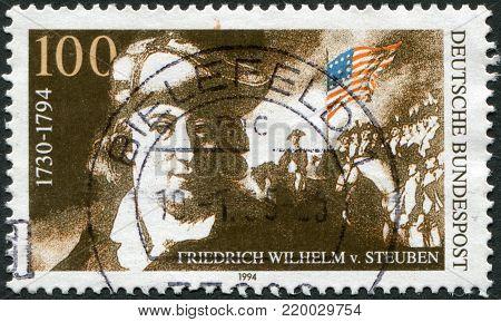 GERMANY - CIRCA 1994: A stamp printed in the Germany, shows Baron Friedrich Wilhelm von Steuben, circa 1994