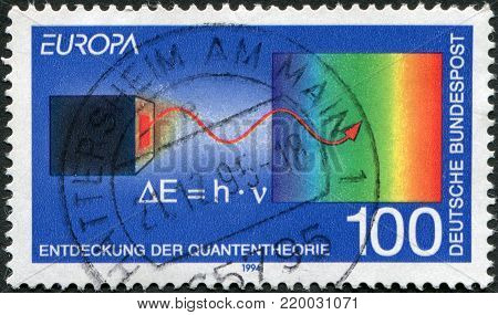 GERMANY - CIRCA 1994: A stamp printed in the Germany, shows the Quantum theory, by Max Planck, circa 1994