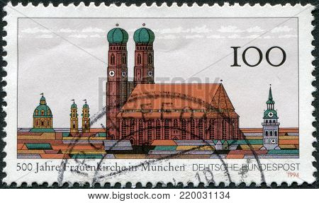 GERMANY - CIRCA 1994: A stamp printed in the Germany, dedicated to the 800th anniversary of the Munich Frauenkirche, circa 1994