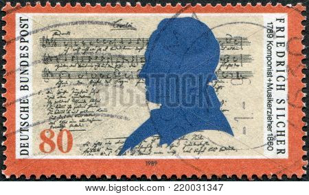 GERMANY - CIRCA 1989: A stamp printed in the Germany, shows Friedrich Silcher (1789-1860), Composer, and Lorelai Score, circa 1989