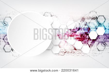 Colorful techno background schematic. Structure pattern technology backdrop, digital geometric space, vector illustration