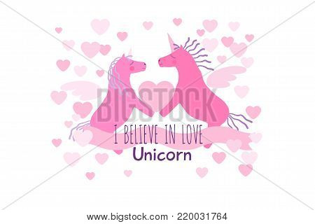 Two heterosexual pink winged unicorn horses with violet manes and tails hold the heart. I believe in love greeting card.