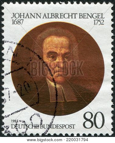 GERMANY - CIRCA 1987: A stamp printed in Germany, is dedicated to the 300th anniversary of Johann Albrecht Bengel (1687-1752), Lutheran Theologian, circa 1987