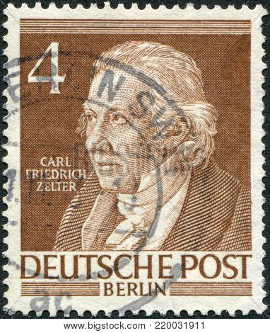 GERMANY - CIRCA 1952: A stamp printed in Germany (West Berlin), shows Carl Friedrich Zelter, circa 1952