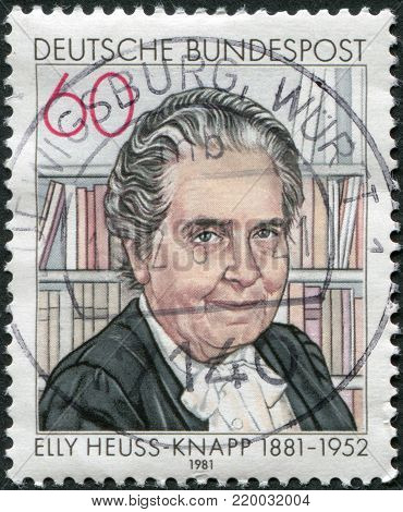 GERMANY - CIRCA 1981: A stamp printed in Germany, shows Elly Heuss-Knapp (1881-1951), founded Elly Heuss-Knapp Foundation (Rest and Recuperation for Mothers), circa 1981