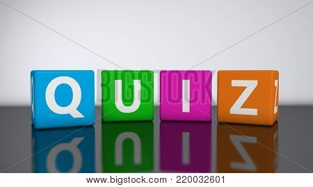 Quiz word and sign on colorful cubes 3D illustration.