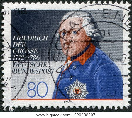GERMANY - CIRCA 1986: A stamp printed in Germany, shows a picture of