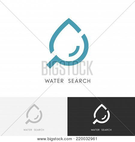 Water search logo - drop of liquid or oil and loupe or magnifier symbol. Laboratory, research and ecology vector icon.