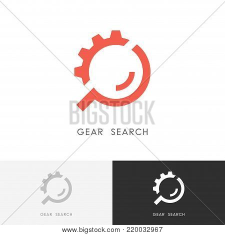 Gear search logo - wheel or pinion and loupe or magnifier symbol. Industry, equipment and machinery, repair and maintenance vector icon.