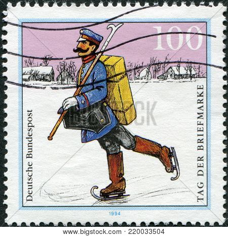 GERMANY - CIRCA 1994: A stamp printed in Germany, shows the Mail Delivery, Spreewald Region (1900), circa 1994