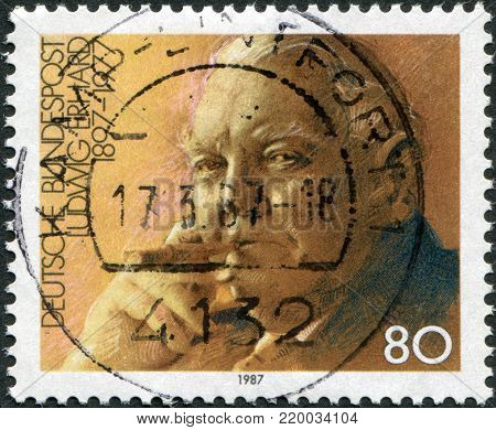 GERMANY - CIRCA 1987: A stamp printed in Germany, shows the Ludwig Erhard (1897-1977), Economist, Chancellor, circa 1987
