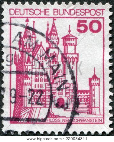 GERMANY - CIRCA 1977: A stamp printed in Germany, shows the Neuschwanstein Castle, circa 1977