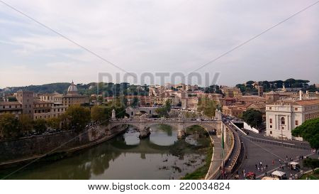View from saint angelo castle in Rome