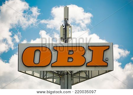 WETZLAR, GERMANY AUGUST, 2017 OBI sign on a pole. Founded in 1970, OBI is the largest do it yourself retailer in Europe and the third largest in the world.