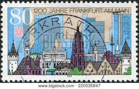 GERMANY - CIRCA 1994: A stamp printed in Germany, is devoted to 1200 anniversary of Frankfurt Am Main, circa 1994