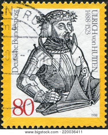 GERMANY - CIRCA 1988: A stamp printed in the Germany, shows Ulrich Reichsritter von Hutten, detail from an engraving published with Hutten's Conquestiones, circa 1988