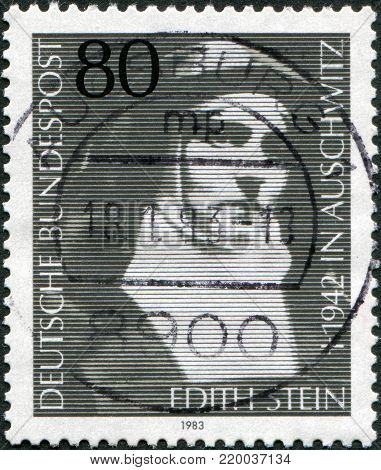 GERMANY - CIRCA 1983: A stamp printed in Germany, shows Edith Stein, philospher and Carmelite Nun, circa 1983