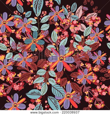 Pretty vector rustic floral pattern ideal for fabric design