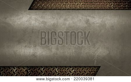 scratched metal template with diamond plate background