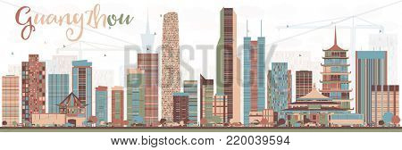 Abstract Guangzhou China City Skyline with Color Buildings. Business Travel and Tourism Concept with Modern Buildings. Guangzhou Cityscape with Landmarks.