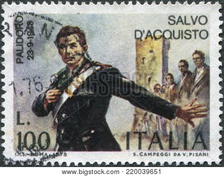 ITALY - CIRCA 1975: A stamp printed in Italy, shows a national hero in Italy Salvo D'Acquisto, circa 1975