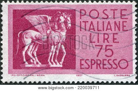 ITALY - CIRCA 1958: A stamp printed in Italy, depicts a flying horse from Tarquinia, Etruria, circa 1958