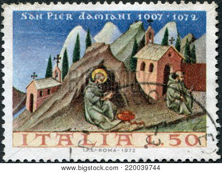 ITALY - CIRCA 1972: A stamp printed in Italy, shows St. Peter Damian, by Giovanni di Paoli, circa 1972