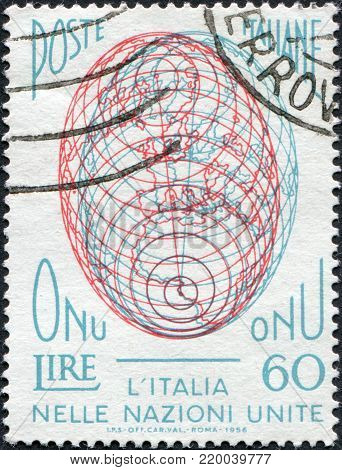 ITALY - CIRCA 1956: A stamp printed in Italy, is dedicated to Italy's entry in the United Nations, shows the Globe, circa 1956