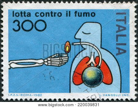 ITALY - CIRCA 1982: A stamp printed in Italy, is dedicated Anti-smoking Campaign, circa 1982