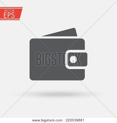 Wallet with paper money and card in flat style. Wallet with money dollar bank note flat design isolated, icon vector Money Icon vector. wallet with money icon flat. Online payment concept.