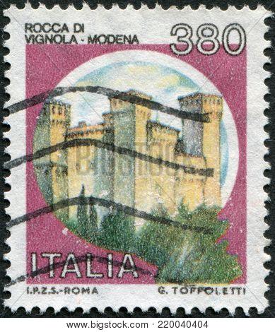 ITALY - CIRCA 1987: A stamp printed in Italy, shows the Rocca of Vignola, Modena, circa 1987