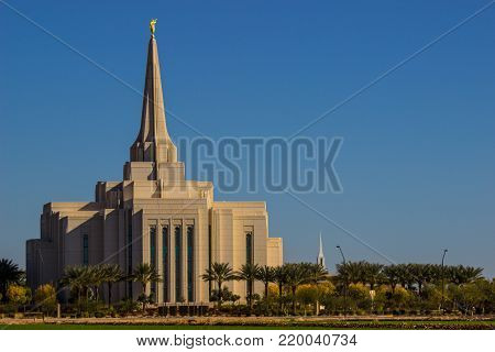 Large Cathedral With Spire & Statue In Arizona
