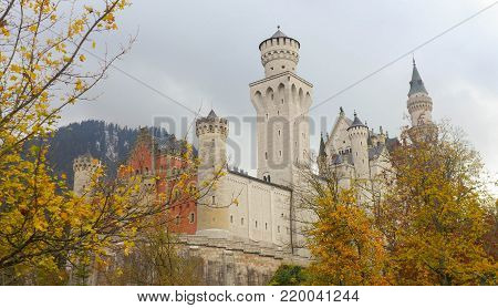 Neuschwanstein Castle in the autumn , landmark in Germany