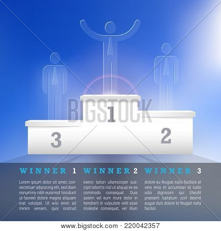 White Vector Winners Podium. Business Winners Concept. Pedestal on a Blue Sky Background. Winner List. First, Second, Third Place.