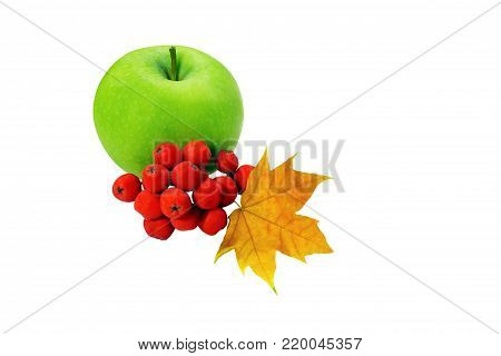 Green Apple, Berries With A Wedge Leaf Isolated On White Background, Concept Of Changing The Season,