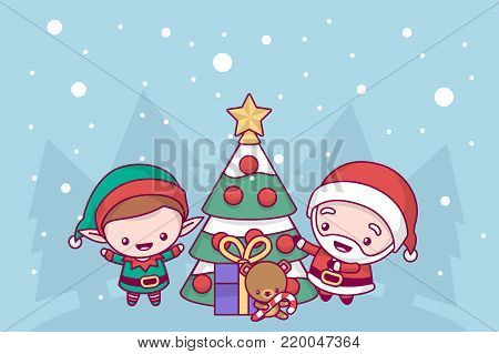 Lovely cute kawaii chibi. Santa Claus and the elf decorate the New Year tree under the snow. Merry christmas and a happy new year. greeting card.