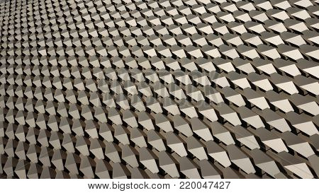 Hexagonal silver coloured alloy pattern in horizontal
